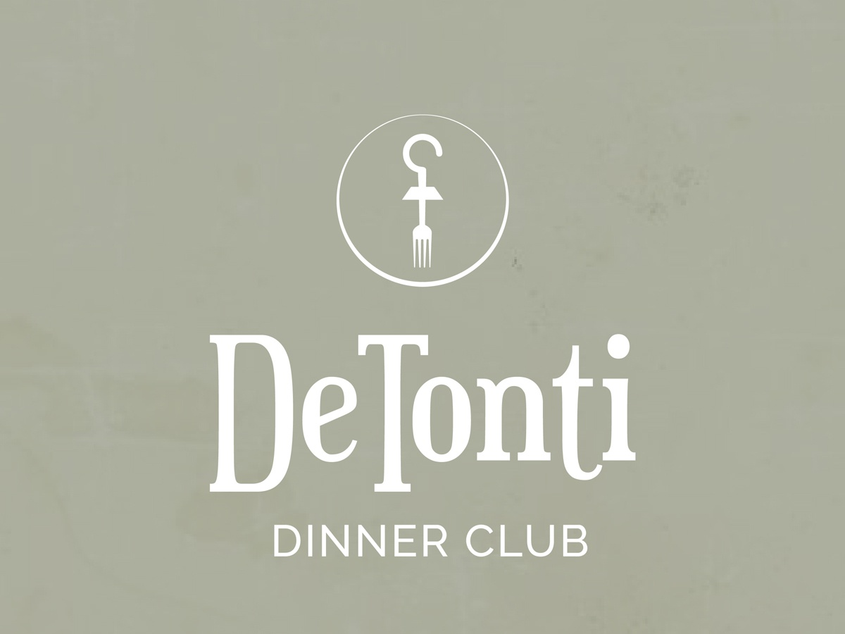 De Tonti Dinner Club Logo Design mobile al illustrator design branding brand symbol typogaphy type logo design concept logo design dinner dinner club logo