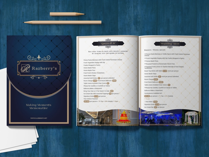 Razberry Banquet hall Menu menu design menu card banquet royal theme indian illustration ad campaign branding design work brochure design menu banquet hall menu razberry banquet hall website ui