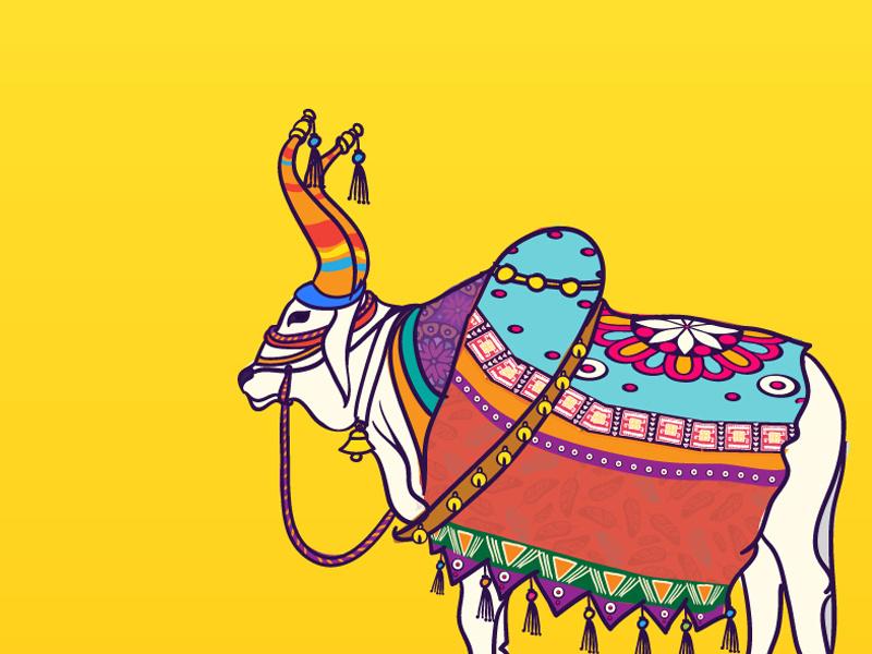 Cow indian design work drawings cartoon worship puja illustraion nature animal festival india arts cow