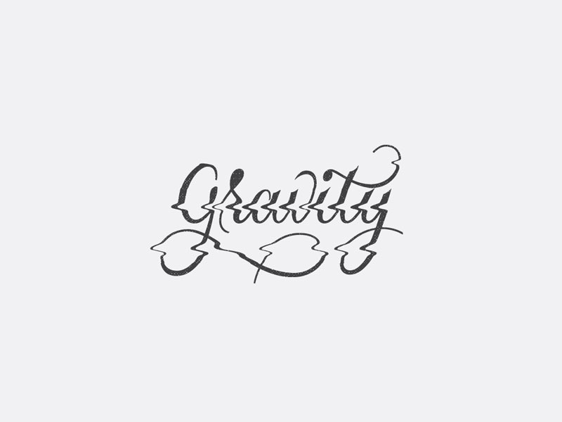 Gravity glitch scanner script hand lettering lettering