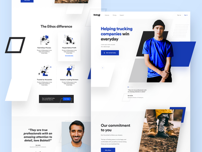 Bobtail Homepage Exploration - V1 landing page homepage design outdoors footers user testing icons company person testimonial trucking bobtail webdesign homepage