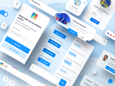 IRL Web Product - Preview baby blue blue pop up padigation search bar navigation bar navigation style guide buttons dates calendar irl concerts hover color party golden state