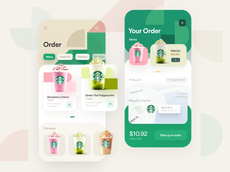 Starbucks App Redesign responsive redesign mobile location mobile checkout frappuccino treats alex banaga menu price total coffee mobile order order starbucks