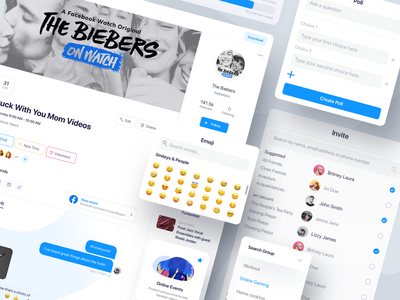 Online Chat Ui online party party events event sidebar justin beiber beiber user votes votes user poll poll product design web search users emojis invite online chat irl