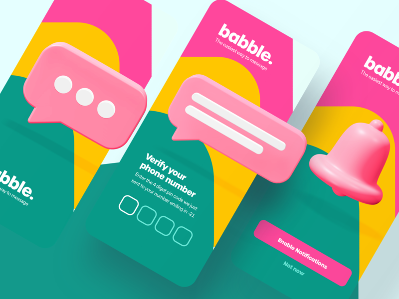 babble onboarding exploration message app authentication phone number verify ios notification chat icon onboarding babble icons 3d chat app mobile iphone