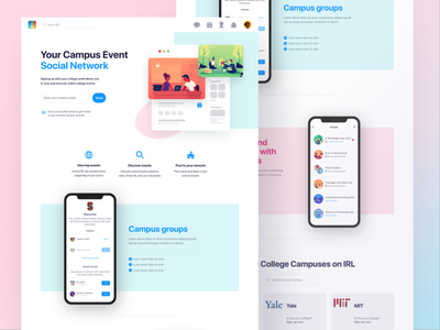 IRL College Landing Page - Concept college sports uc sdsu white simple clean interface simple social network social landing page design hero uiux landing page ui web landing page college