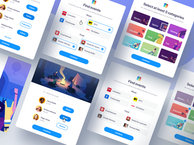 IRL Web Onboarding Flow search onboarding screen web flow flow ux ui onboarding ui web select mtv share follow online event events category illustrator onboarding