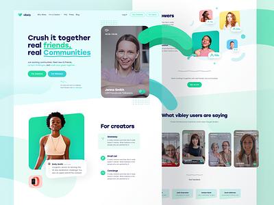 Vibely Homepage Exploration shapes creative positive fun challenges goals online event together videos landingpage uiux ui community video app online