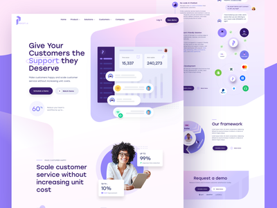 Percept.ai - Homepage & Product Page automation demo page homepage ui product design revenue understanding caviar customers support system tickets robot .ai homepage ticketing product page percept.ai