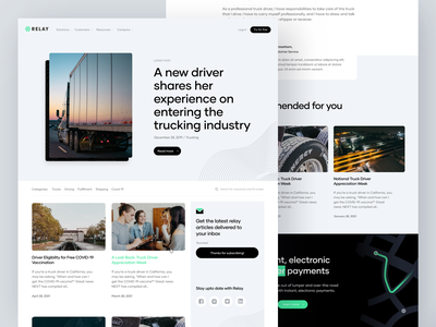 Relay - Blog and Article Page article page blog page typography trucking branding ux website caviar electronic payments digital payments fleet lumper relay payments article blog relay