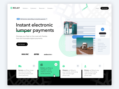 RelayPayments - Full Website shippers online payments payments patterns footer quote motion homepage fright uber roads ux landing page caviar animation website trucking fleet relay payments relay