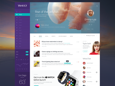 Yahoo Redesign alex banaga yahoo redesign icons website clean stats chat weather news posts