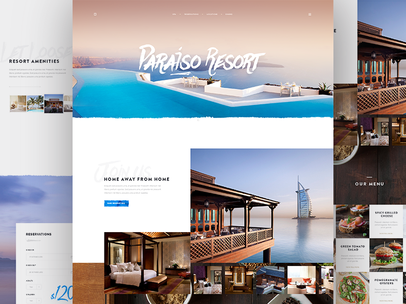 Paraiso Resort form book menu simple website webdesign concept hotel resort