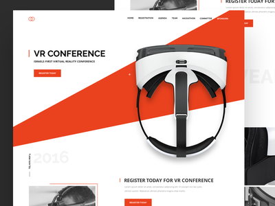 Vr Conference layout schedule minimal white red bold team reality virtual conference