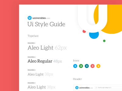 Universities Style Guide ui header fonts styling guides pixels colors school guide style