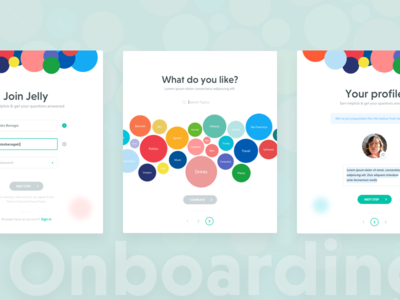 Ask Jelly Onboarding for Web circles search interested topics picker profiles mobile web up sign form onboarding