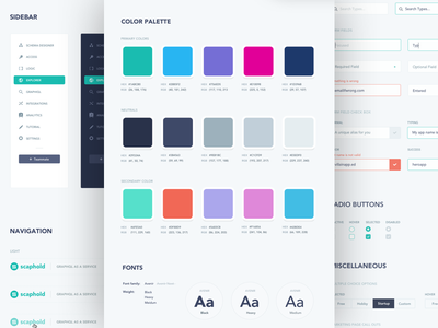 Scaphold.io Style Guide web ui toolkit styles guide style rebrand navigation colors elements