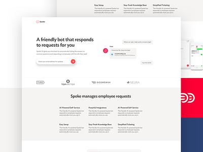 Spoke Lead Page Design spoke set-up interface ui design website landing page respond manage requests bot employee