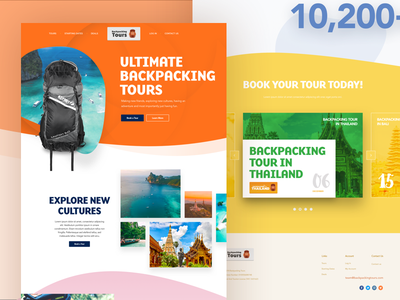 Backpacking tour website preview interface ui adventure tour outdoors design landing page website backpacking tours