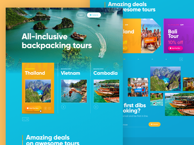 BackpackingTours Website Preview interface ui adventure tour outdoors design landing page website backpacking tours