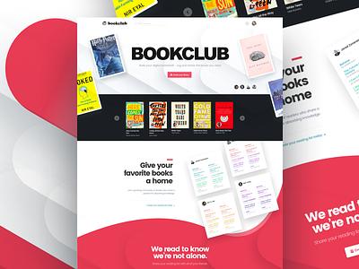 BookClub Landing Page organized knowledge ui interface bookworm design ebook bookclub
