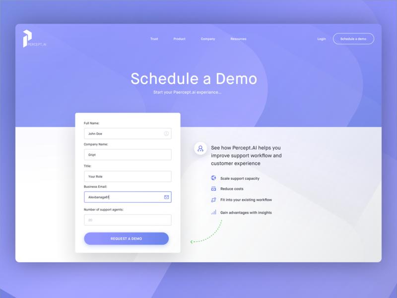 Percept.ai Request Demo Page Preview details interface ui information demo design website landing page perceptai