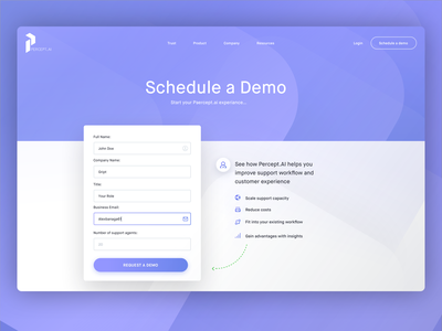 Percept.ai Request Demo Page Preview details interface ui information demo design website landing page perceptai