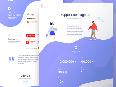 Percept.ai Company Page Preview investment details information stats interface ui ai design website landing page percept.ai