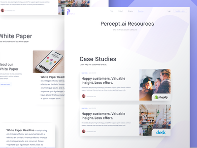 Percept.ai Resource Preview interface ui happy study headline design website landing page percept.ai