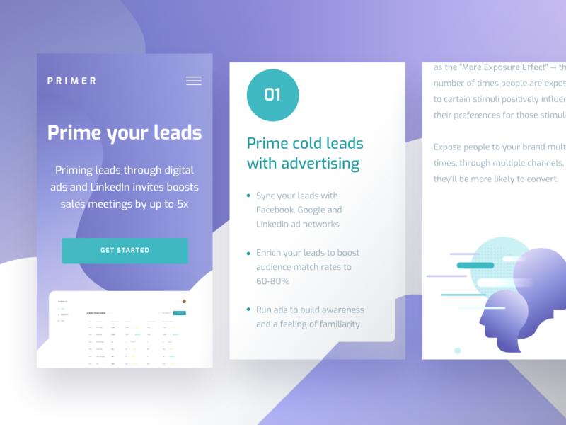 Primer Mobile Website social networks digital leads experience ux interface ui page design app website mobile primer