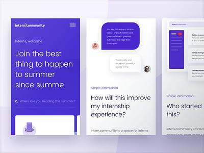 Intern Community Mobile Website ux interface ui improve internship accessibility website mobile intern community