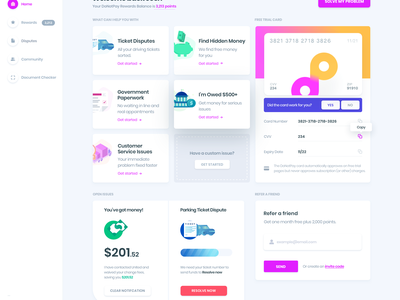 DoNotPay for Web design data money dashboard website ux ui landingpage donotpay