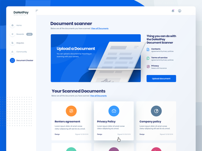 DoNotPay Document Scanner for Web records paper archive home document ux ui design website scanner