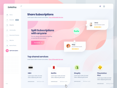 DoNotPay Share Subscriptions Homepage for Web