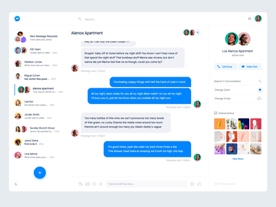 Facebook Messenger Redesign dark mode light mode linkedin photos team message ui message app people gif light dark app web messanger redesign facebook