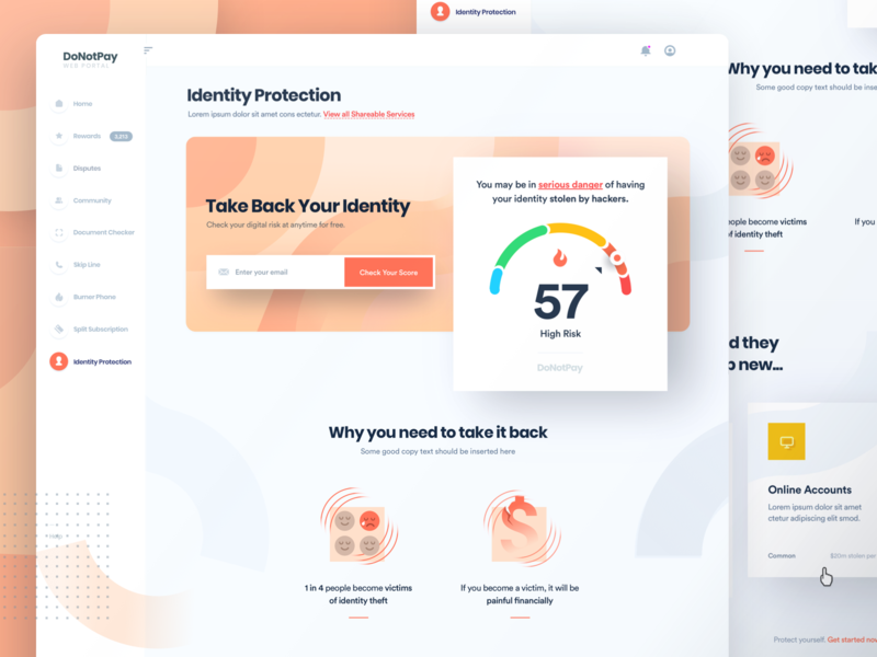 DoNotPay Identity Protection for Web rating fire product web orange protection creditcard money donotpay identiy credit score score credit risk security