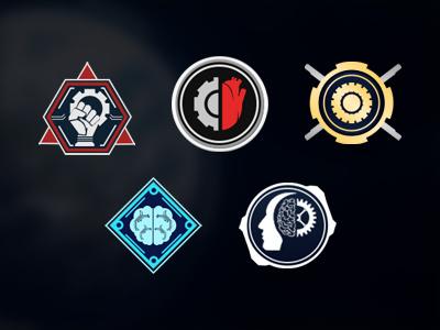 Robothorium Factions Logos sci fi video game ui art icons design