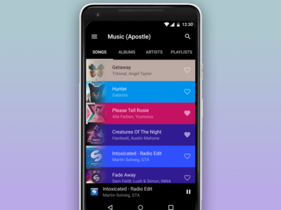 Concept of Music Library in Material Design