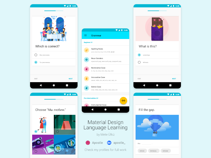 Material Design Language Learning App by Mete Ulku on Dribbble