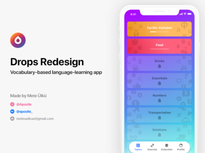 Drops - Learn Languages, Redesign drops user interface ui mete ülkü iphone x ios learning language learning language language drops grammar apostle