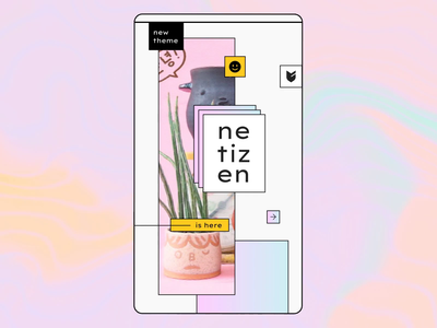 Netizen insta story animation branding brutalist logo vibes modern netizen retro squiggles pink yellow motion line emoji flat cute