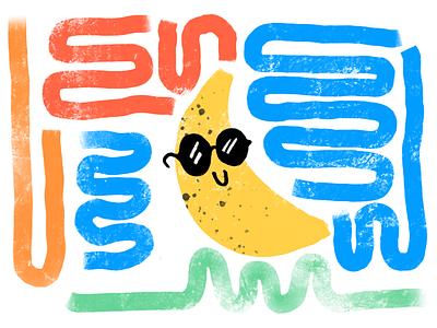 Summertime banana sunglasses squiggle banana