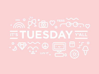 Tuesday! cute donut clink illustration design lucky happy tuesday
