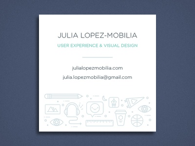 Business Card Front Design type teal pizza lines illustration icons emoji coffee code chunky cats brand