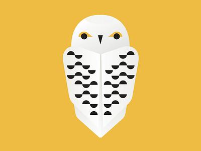 Snowy Owl snowy owl feathers eyes yellow flat shapes gradients geometric owl