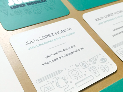 Business Cards Printed print illustration type icons lines rounded corners business card
