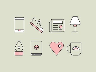 Cute Icons pink cute lamp mug pen heart phone icon iconography