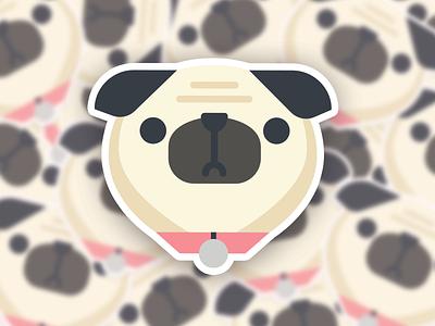 Pug Pile pink cute character illustration dogs grumpy pug sticker