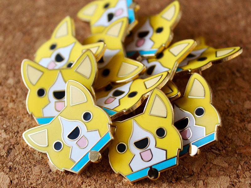 Goofs enamelpin pin corgis corgi yellow flat cute illustration