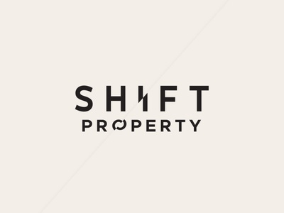 Shift property real estate property real estate wordmark clever design simple flat bold icon conceptual clean branding logo